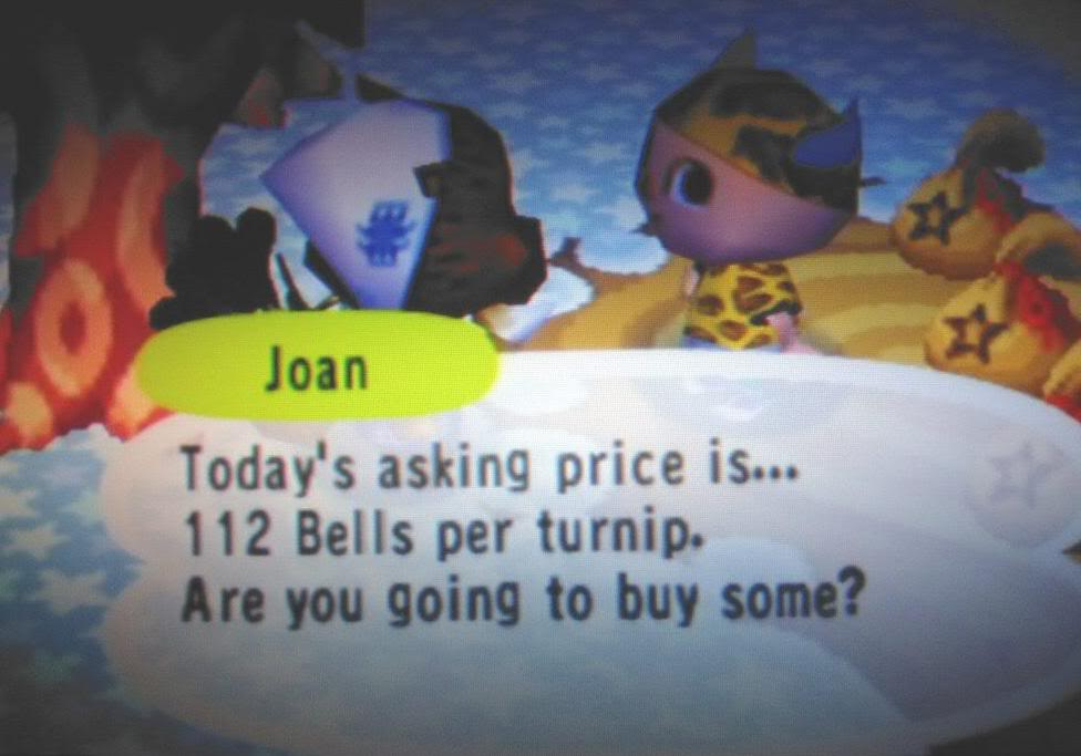 Joan selling Turnips for 112 Bells each