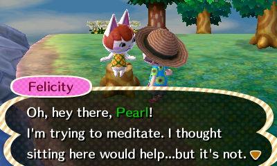 Felicity on a tree stump.